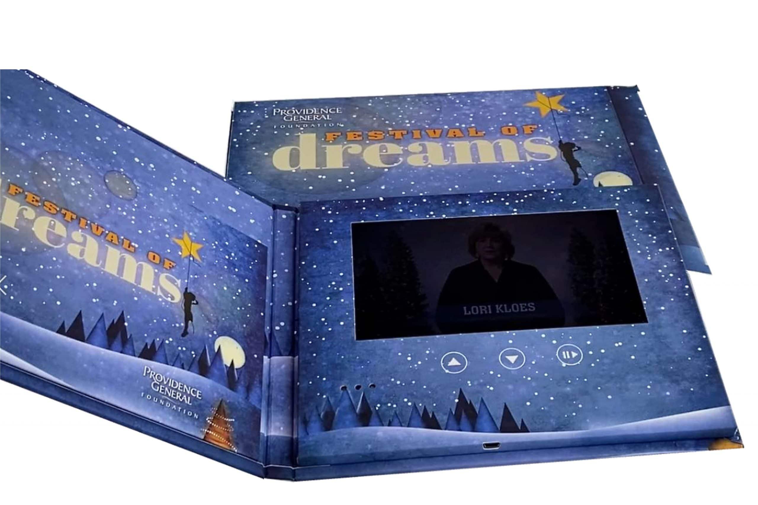"""Festival of DreamsBrochure 5 x 7 - Screen: 4""""Watch Video"""