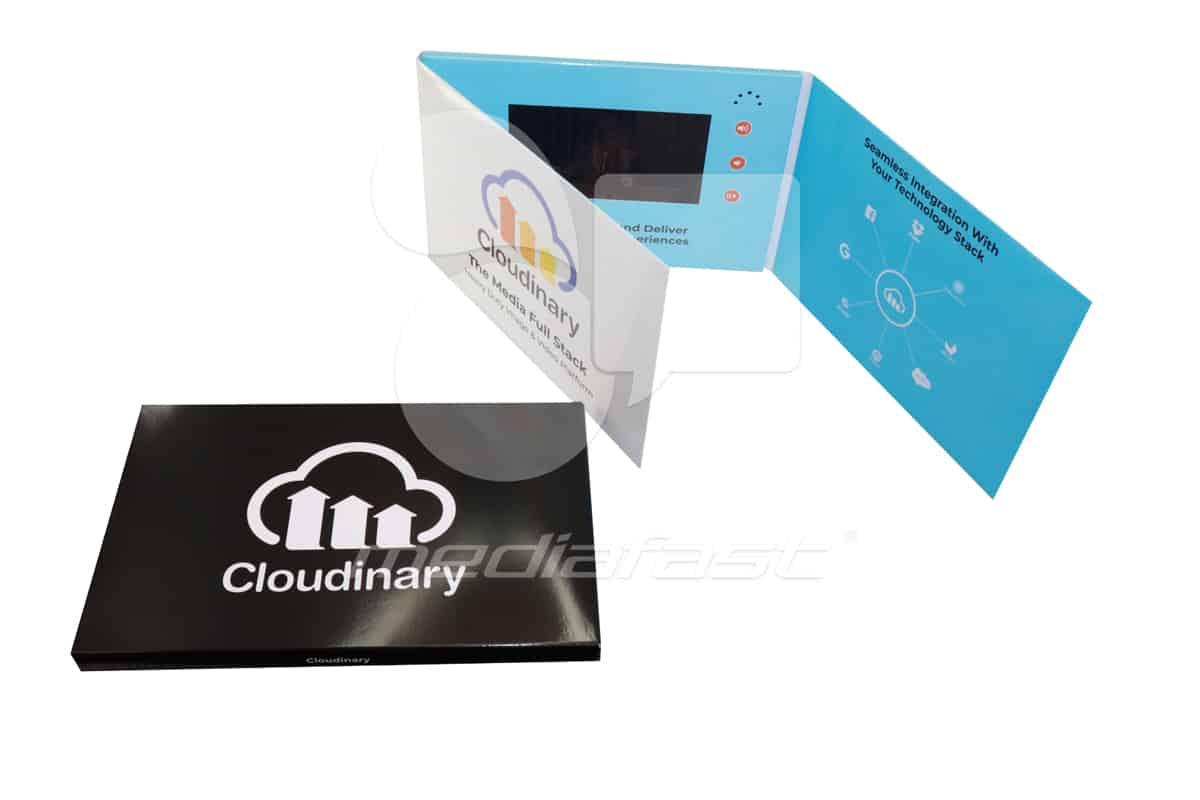 "Cloudinary- Gatefold Video Brochure 7.46 X 10.96- Screen: 7"""
