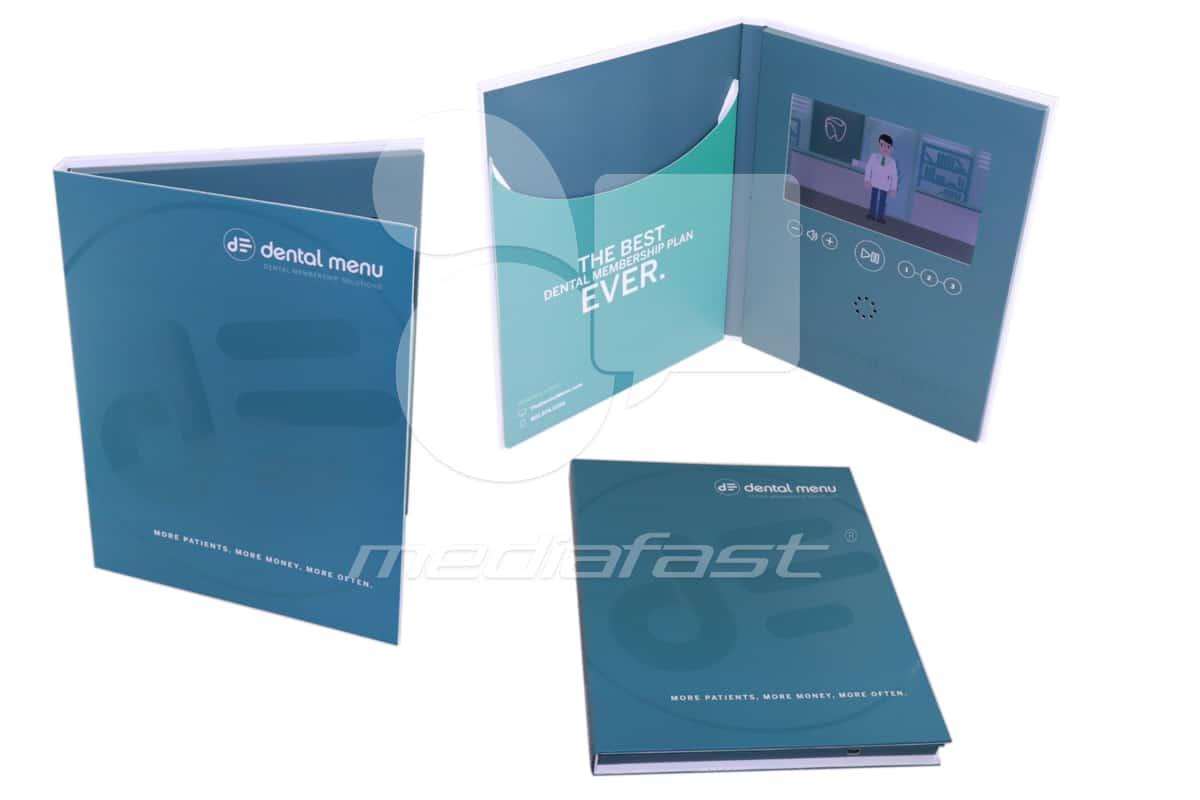 "Dental Menu- Hard Cover With Pocket Video Brochure 8.5 X 11- Screen: 7"""