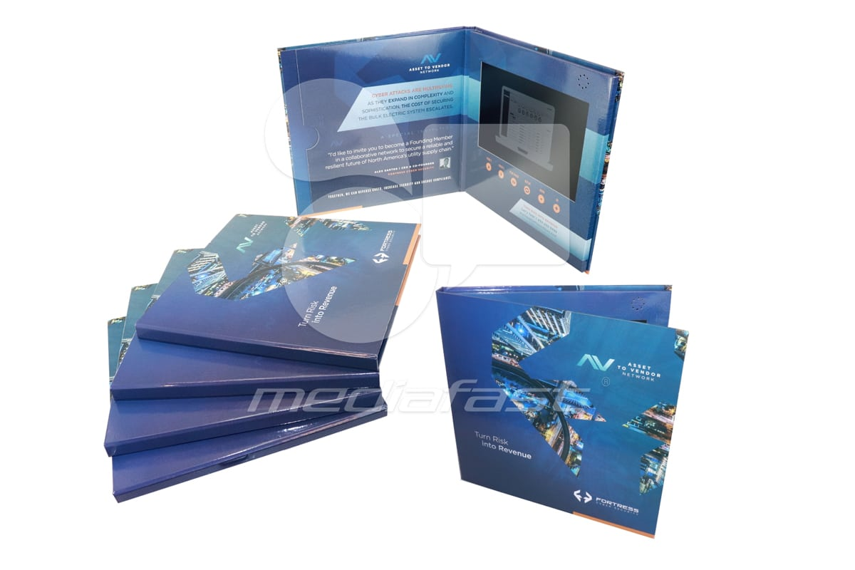 """FORTRESS Cyber Security- Hard Cover Video Brochure 11 X 11. Screen: 10"""""""