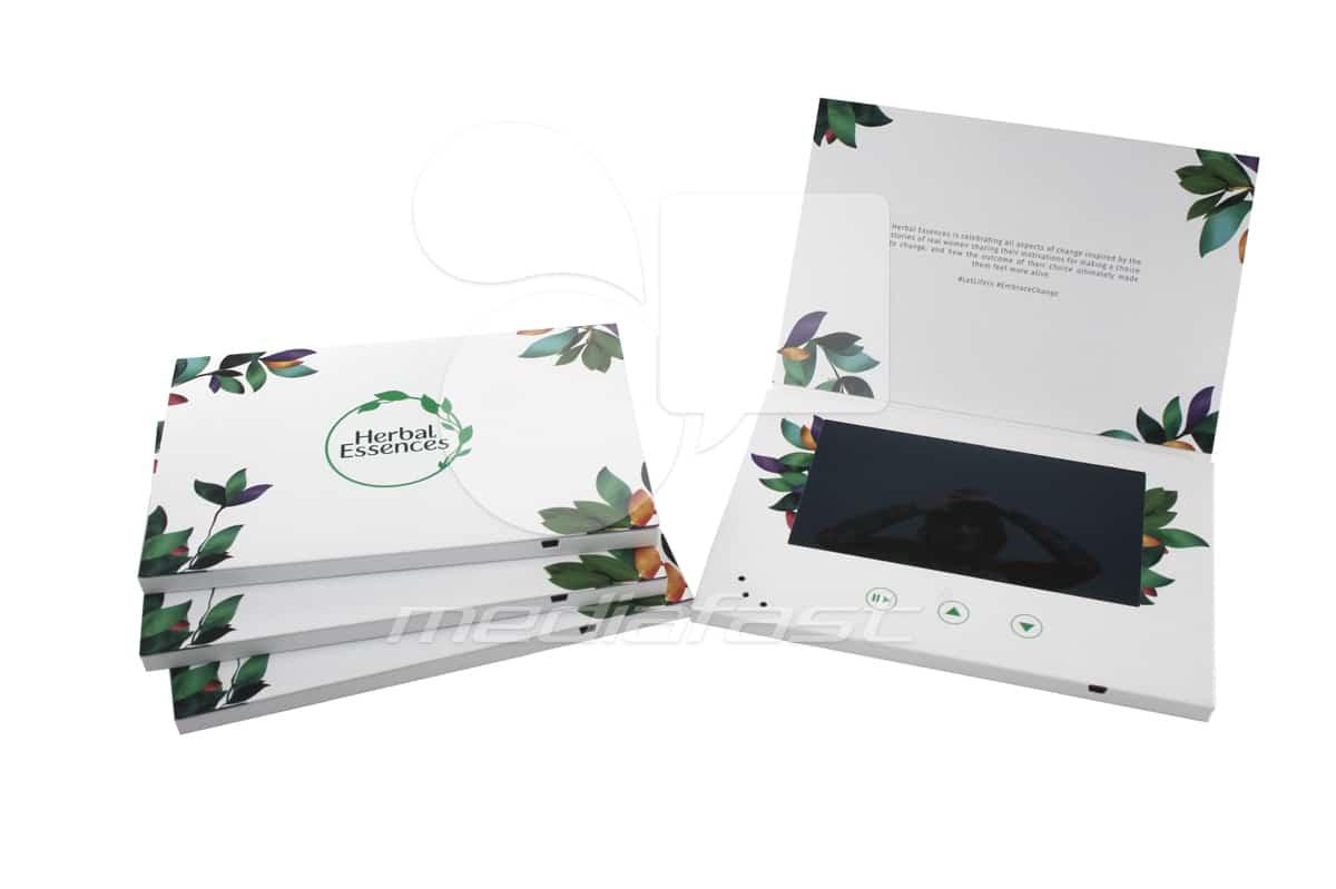 "Herbal Essences- Top Fold Video Brochure 5.75 X 8: Screen: 7"""