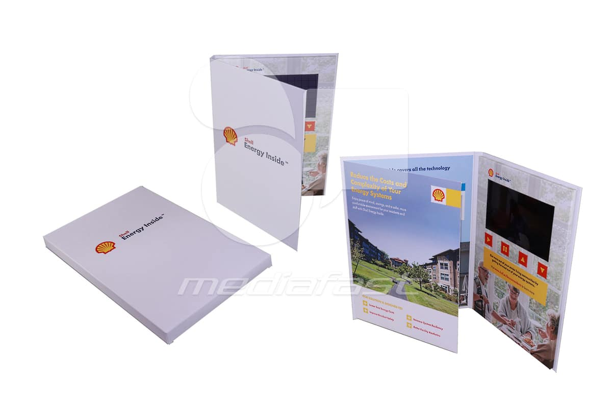 "Shell- Gatefold Video Brochure 9 X 12- Screen: 7"""